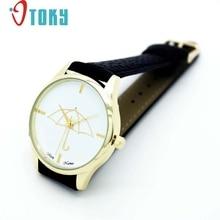 New Black & White Watch Ladies Umbrella Type Leather-based Band Analog Quartz Wrist Watch Wrist Watches relogio feminino #1128