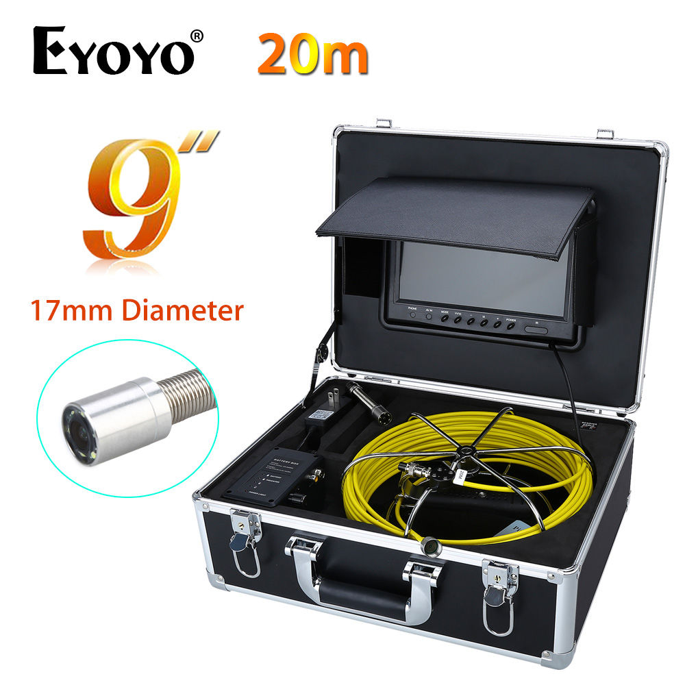 Eyoyo WP90B 20M 9 LCD 17mm 1000TVL HD Wall Drain Sewer PipeLine Inspection Camera Snake endoscope Color System Waterproof Cam
