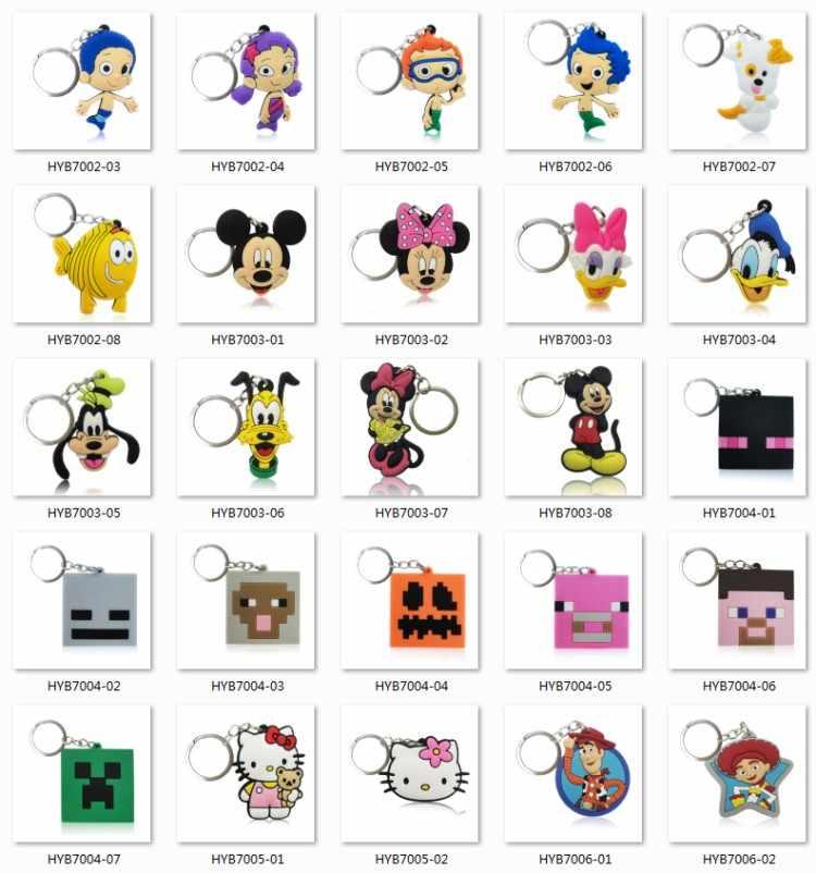 100 шт./лот Mix Стиль случайный ПВХ мультяшный брелок для ключей для детей брелок с рисунком в виде аниме брелок игрушка кулон брелок