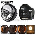 POSSBAY Universal 7'' Motorcycle LED Turn Signals Headlights Amber Light For Harley Bobber Dyna Honda Yamaha Kawasaki BMW ATV