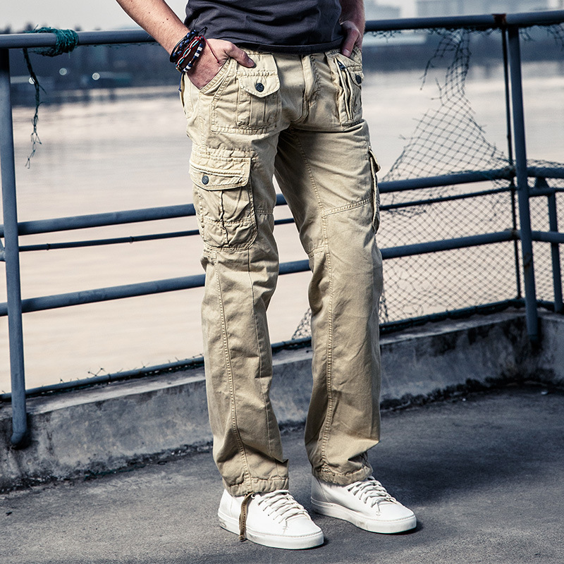Male Pants Army-Trousers Large-Pockets Tactical Men's Casual Cotton New Spring
