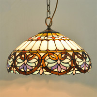 Tiffany Baroque Glass Pendant Lamp European Style Bar Coffee Shop Light Dia 40cm H 100cm