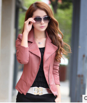 fashion pink sky blue women leather jacket bomber motorcycle ...