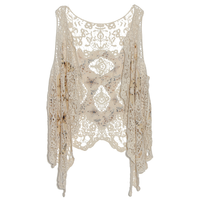 6946c44b5e59d US $16.71 35% OFF|Jastie Floral Print Patchwork Crochet Lace Top Cardigan  Hollow out Boho Hippie Asymmetric Kimono Jacket Top Beach Cover Up Tops-in  ...