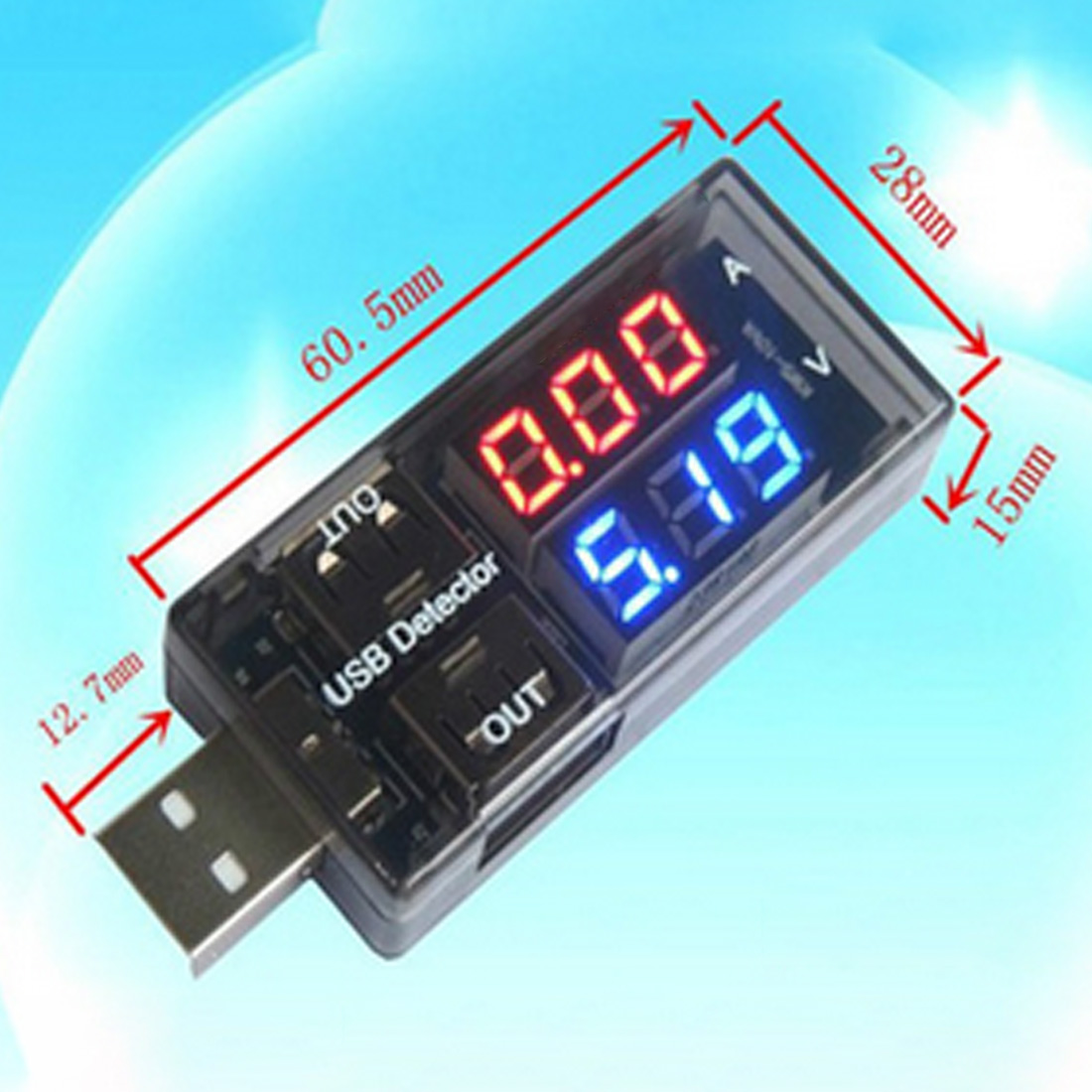 1pc New USB Current Voltage Tester Meter USB Voltage Ammeter USB Detector Double Row Shows Gauge usb current voltage charging detector mobile power current and voltmeter ammeter voltage usb charger tester double row shows h7 page 8