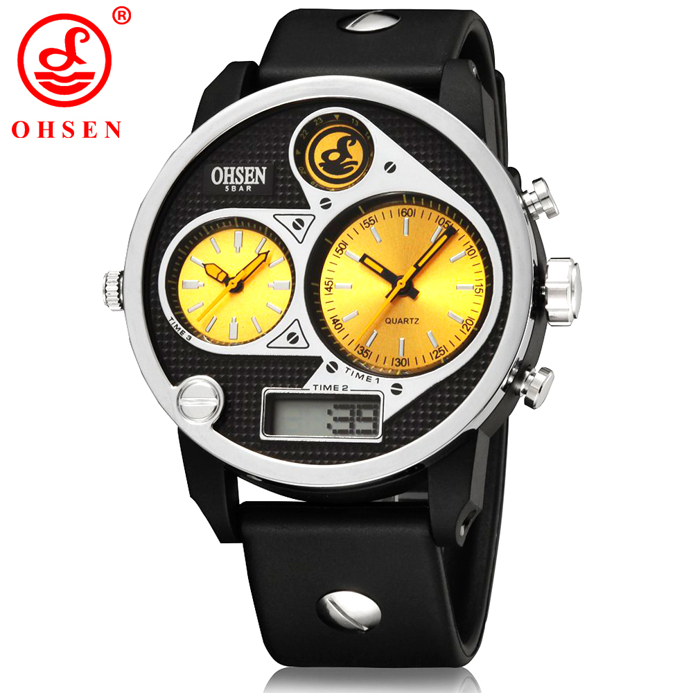 Men Sports Watches Waterproof Multiple Time Zone LED Quartz Wristwatches Silicone Auto Date Back light OHSEN Brand Watch AD2806 weide casual genuin brand watch men sport back light quartz digital alarm silicone waterproof wristwatch multiple time zone