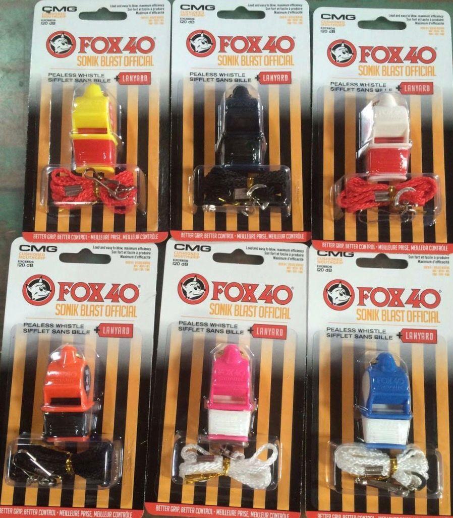 100 unids / lote colorido SONIC Fox 40 silbato con boquilla CMG y cordón en el nuevo embalaje de la ampolla
