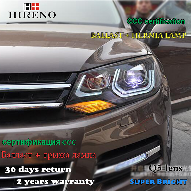 Hireno Car styling Headlamp for 2011-2013 Volkswagen Touareg Headlight Assembly LED DRL Angel Lens Double Beam HID Xenon 2pcs hireno car styling headlamp for 2003 2007 honda accord headlight assembly led drl angel lens double beam hid xenon 2pcs
