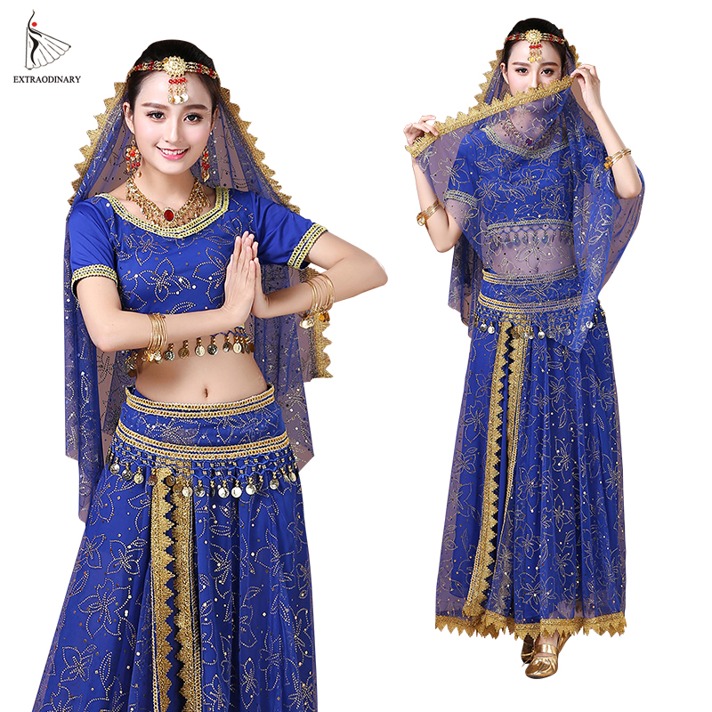 Bollywood Belly Dance Costume Set Indian Dance Sari Bellydance Skirt Suit Women Chiffon 5pcs (Headpieces Veil Top Belt Skirt)(China)