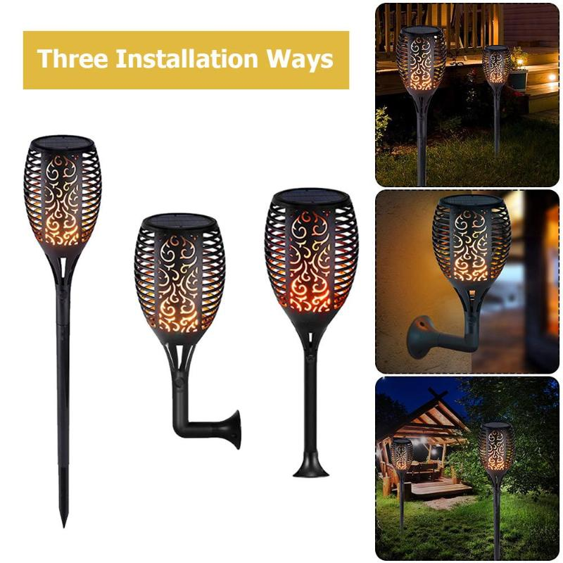 1/2/4pcs Outdoor 96LED Solar Flame Lamp Garden Yard Solar Flame Light Waterproof Courtyard Path Lawn Wall Torch Lamp Lights