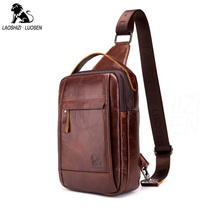 Vintage FAMOUS Brand Genuine Leather Chest Bag Messenger Bag Sling Male Shoulder Bags Cow Leather Crossbody Bag Chest Packs