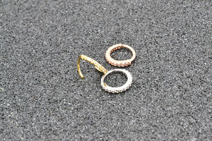 Image 3 - 50pcs Free Shipping CZ Gems Nose Ring Earring Ear Studs Diath Tragus Cartilage Hoop Ring Sliver/Gold/Rose Gold Body Piercing NEW
