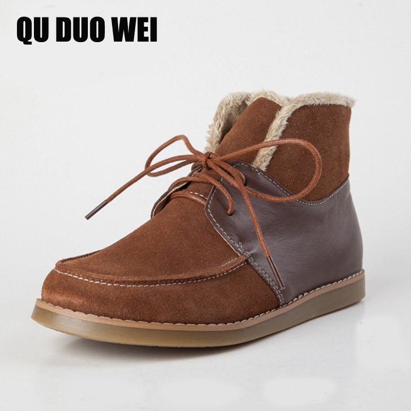 QUDUOWEI Women's Snow Boots Short Plush Genuine Leather Ankle Boots For Woman Lace Up Female Warm Winter Shoes Shearling  Boots шагомер omron hj 320 e