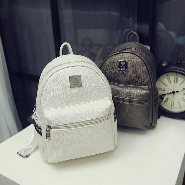 College fashion style ladies shoulder bag high quality PU leather Women bag Fashion Rivets Women Backpack Travel Books Rucksack