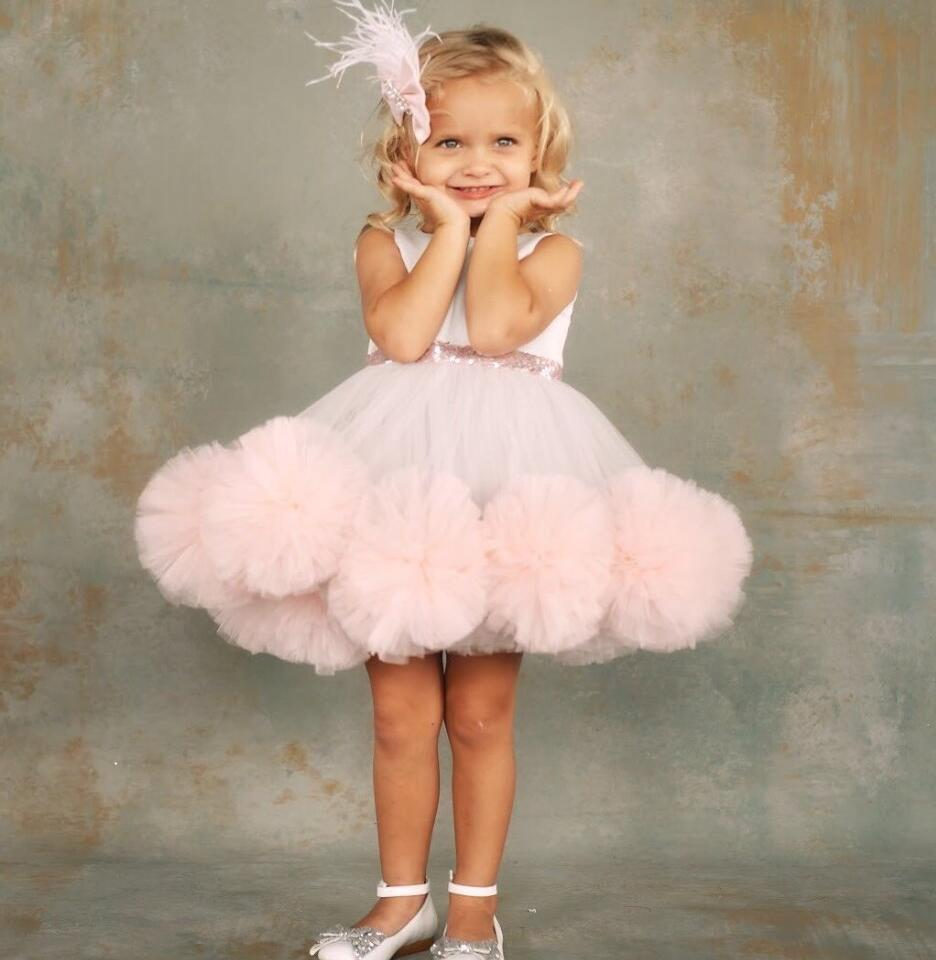 Blush Pink and grey puffy soft tulle ruffles flower girl dresses kid toddler birthday party short pageant gown with headpiece plus open front tassel trim kimono