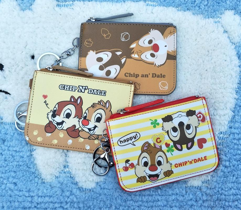 Chip N Dale PU Cartoon Purse Card Key Mini Purse Pouch Pu Bag Small Zipper Coin Purse Card Holder Wallet 1PC Random Send