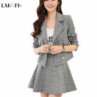2018 Fashion Slim Two Piece Set Short Striped Suit Jacket A Line Skirt Set Single Breasted