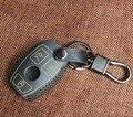 Cuero genuino NEGRO Key Fob Case Holder & Cadena de Metal Para Mercedes Benz W205 W211 W212 W221 W166 C117 Abcès R CLA GLE GLC