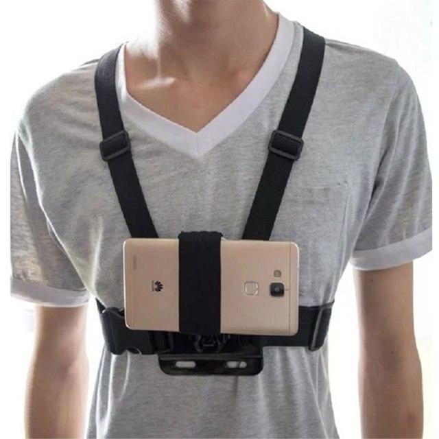Universale Supporto Della Cinghia di Chest Harness Strap Phone Supporto Del Supporto di Aspirazione Del Telefono Testa/Cinturino Da Polso Monopiede per il iphone Huawei Samsung