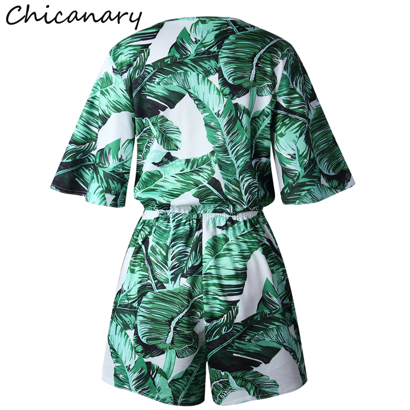 e89548a004 Chicanary Banana Leaves Print Summer Playsuit Women Sexy V Neck Short  Sleeve Rompers Jumpsuit Beach Holiday Girls Overalls-in Rompers from Women s  Clothing ...