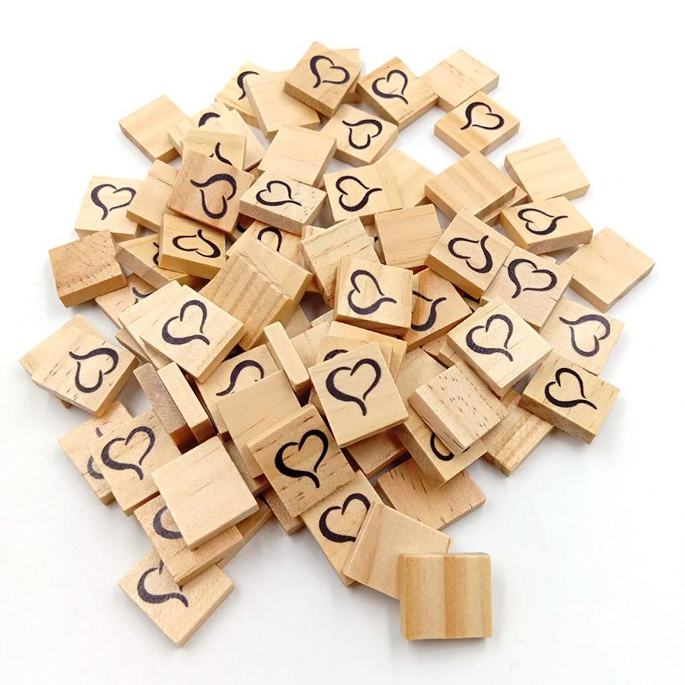 Us 1 79 36 Off 100pcs Heart Symbol Diy Project Crafts Decor Square Cubes Wooden Blocks Slices In Wood From Home Garden On