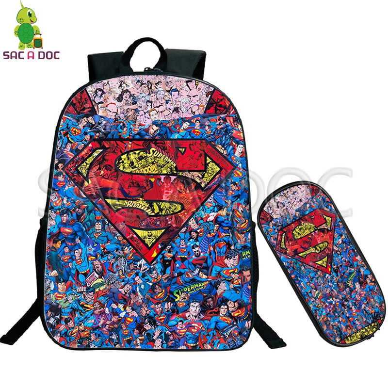 Backpacks Superman Collages School Bag 2 Pcs/set Backpack For Teenage Boys Girls Travel Shoulder Bags Kids Superhero Book Bag Bright Luster