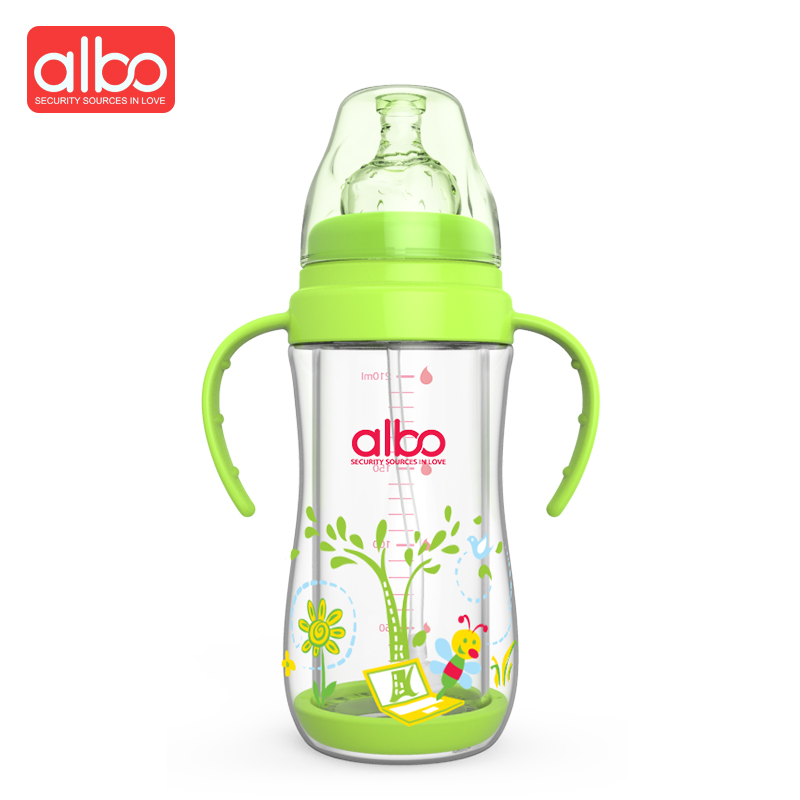 ALBO Hot Selling 210ML Wide Mouth Glass Baby Feeding Bottle Cute Character Design Stream ...