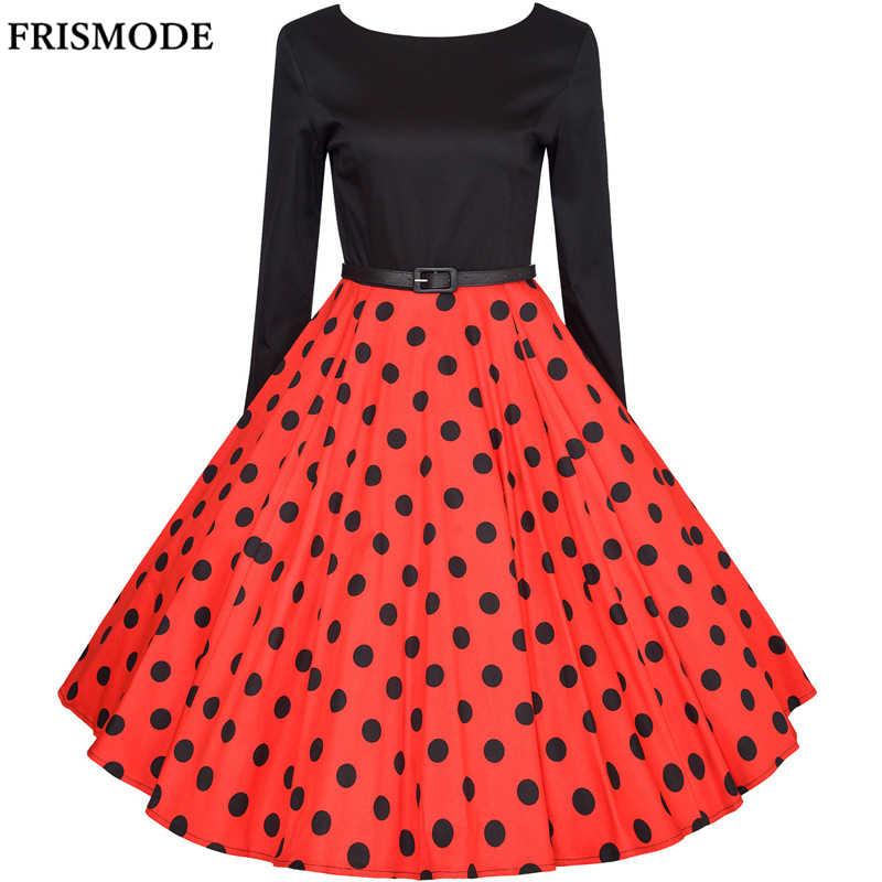 8728eb04d9 XS-4XL Plus Size Audrey Hepburn Vintage Dresses 2018 New Spring Long Sleeve  Polka Dot Women's 1950s 60s Swing Dress vestidos
