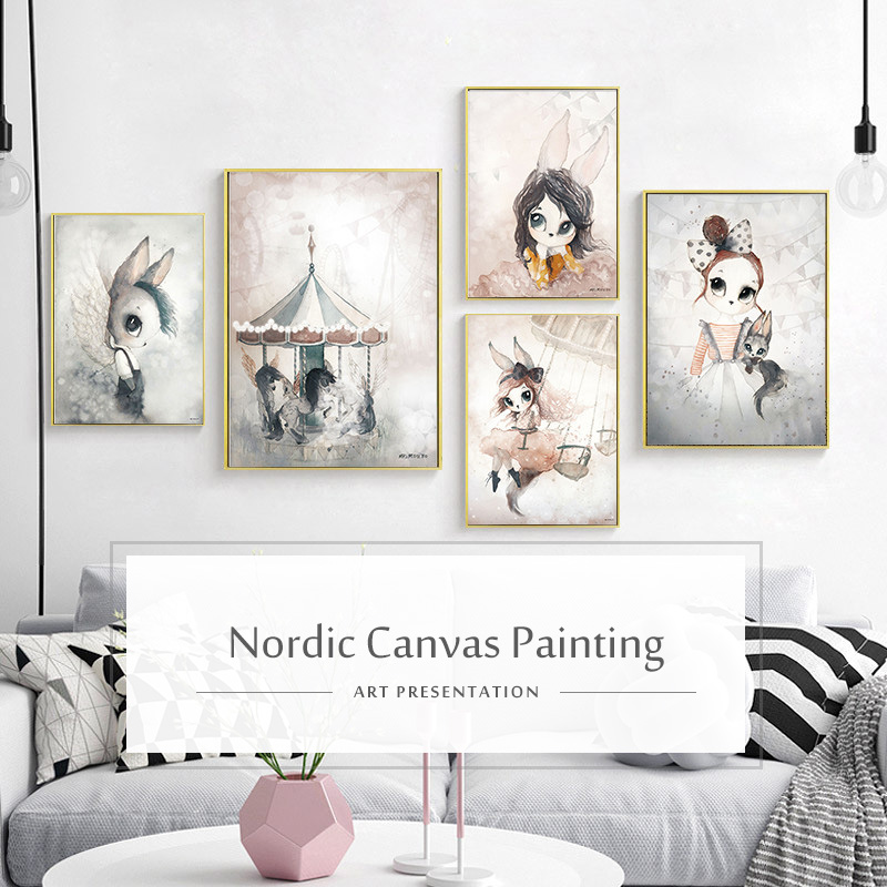 HTB1p5KMafvsK1RjSspdq6AZepXao Home Decor Nordic Canvas Painting Wall Art Rabbit Girl Animal Abstract Watercolor Print Kid Bedroom Living Room Poster Picture