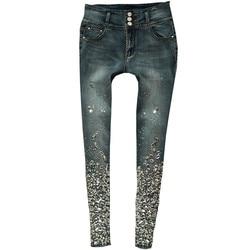 Сексуальные джинсы-скинни с завышенной талией, узкие стрейч брюки, Роскошные Алмазные ручная вышивка стразами, черные эластичные голубые д...
