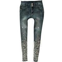 Sexy Skinny Jeans High Waist Pencil Stretch Pants Luxury Diamond Hand Beaded Rhinestone Black Elastic Denim Jeans Pants SIZE 40