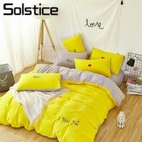 Solstice Home Textile Yellow Gray Solid Duvet Cover Pillowcase Flat Sheet Girl Teen Bedding Set Queen Twin Woman Adult Bed Linen