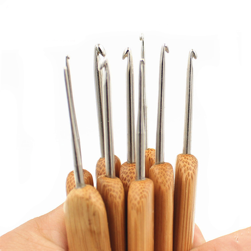 Bamboo Crochet Beginner Set Mixed Aluminum Handle Crochet Hooks Kit Bamboo Knitting Knit Needles Weave Yarn