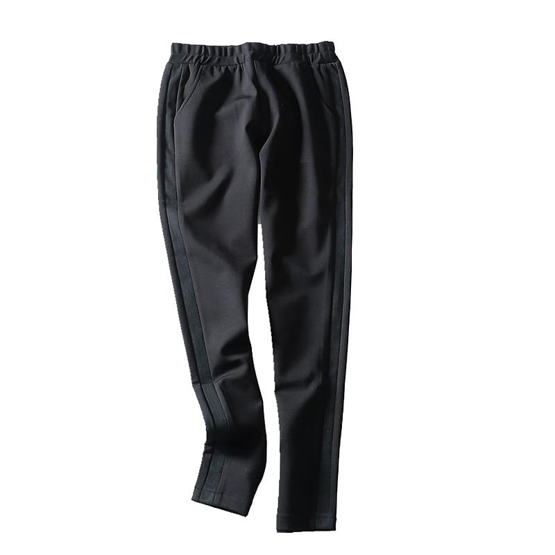 Invierno Tobillo 27 Cintura Sólido longitud Nuevo 2018 Lápiz Otoño Black Plisados Elástico Pantalones 33 Y Mediados Mujeres Casual El Samgpilee Moda U1qIY7P