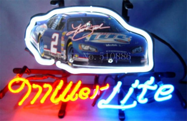 Neon sign for miller lite autographed nascar 2 racing car real neon sign for miller lite autographed nascar 2 racing car real glass tube beer aloadofball Choice Image