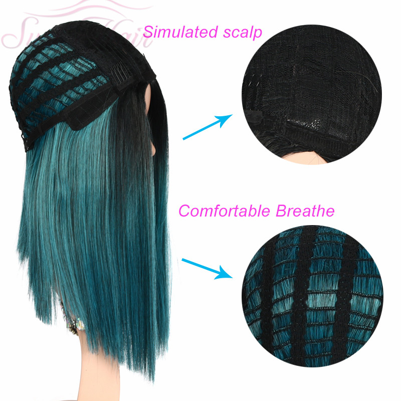 Suri Hair Blue wig Ombre straight synthetic wigs High temperature cosplay short wig Black root for women 14inches Average size in Synthetic None Lace Wigs from Hair Extensions Wigs
