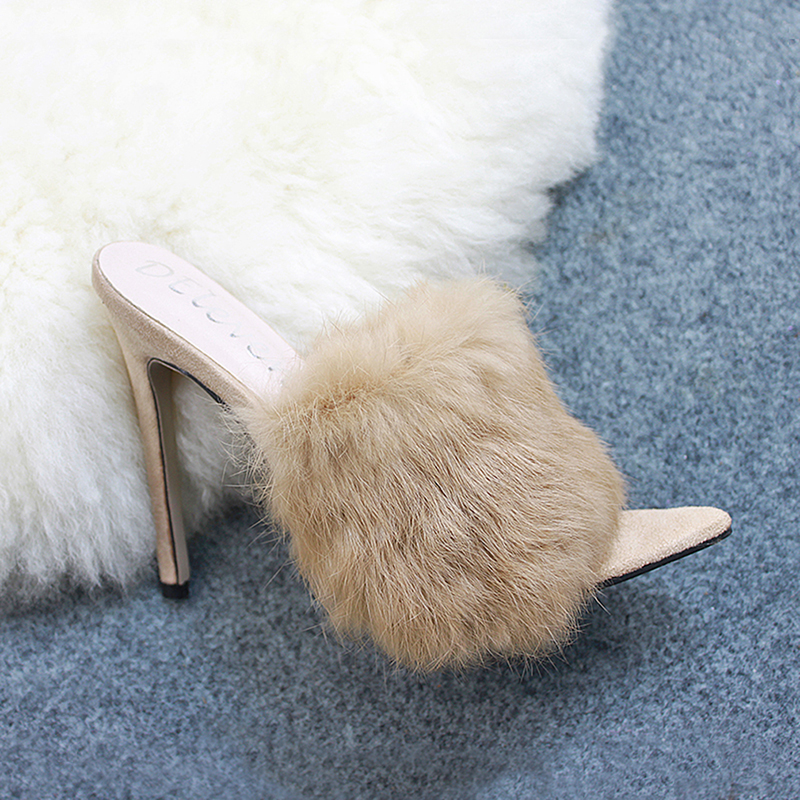 2019 New European Station Sandals Candy Color Luxury Rabbit Fur Slippers Large Women Shoes Size 35-43 High Heel Sandals