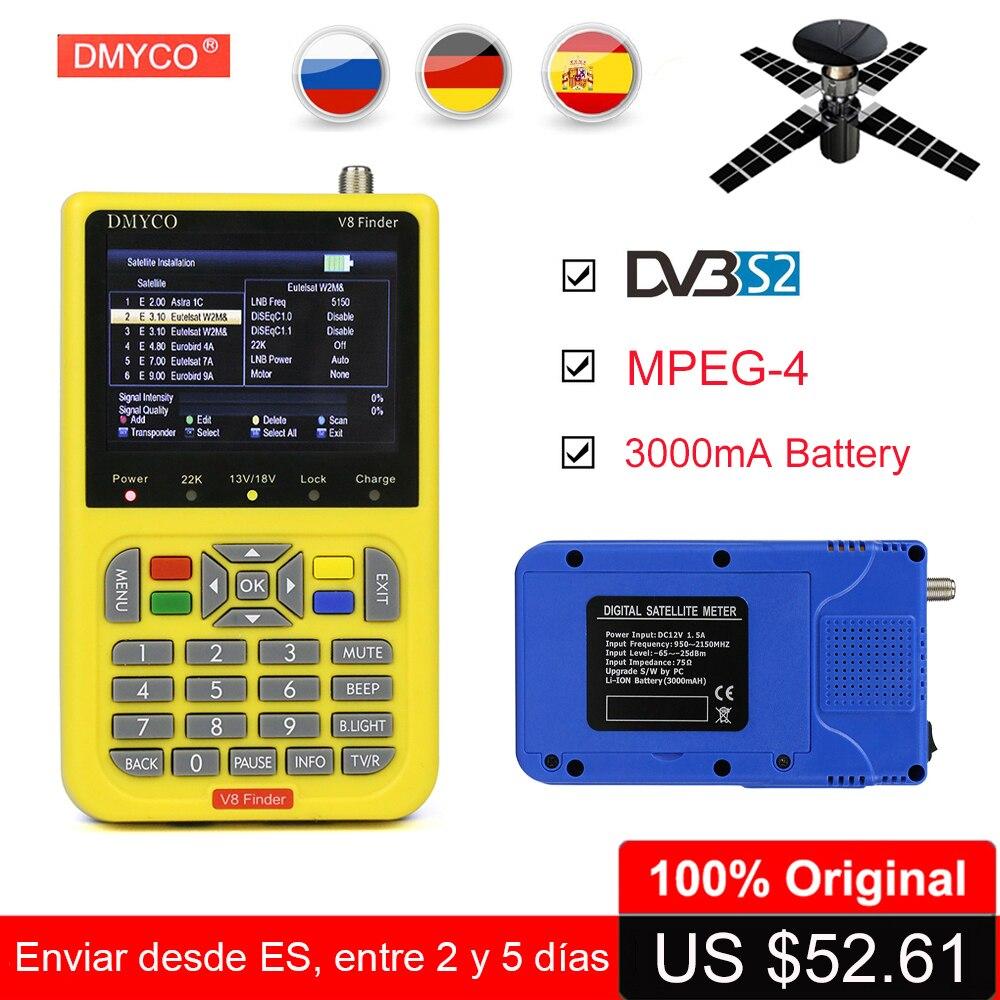 DMYCO Satellite Finder V8 Finder DVB-S2 FTA CKU Band MPEG-4 HD 1080P 3.5 Inch LCD Display DVB-S2 Digital Satellite Finder Meter цена