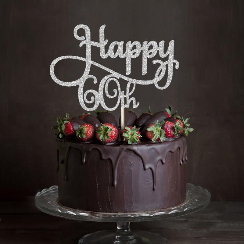 Awe Inspiring Gold Or Silver Glitter Happy 60Th Cake Topper Sixty Birthday Or Funny Birthday Cards Online Alyptdamsfinfo