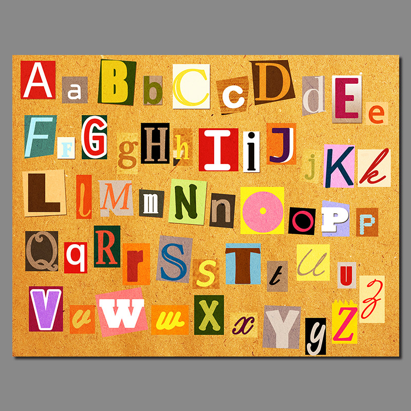 Modern Letters Decoration Alphabet Study Posters Wall Art Pictures ...