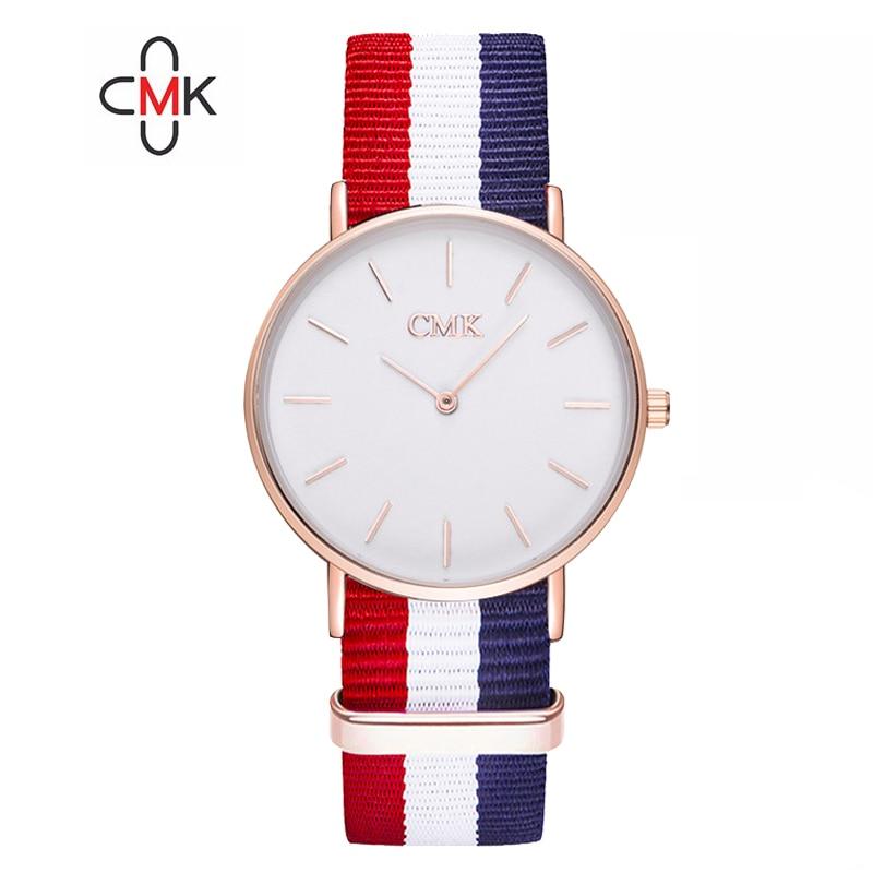 a3b729de9c406f Marka 18 kolor zegar kolorowe, tkane, pasek zegarki sportowe dla kobiety  mężczyźni moda Ultra cienki zegarek kwarcowy na co dzień zegarek dla pary  zegarek w ...