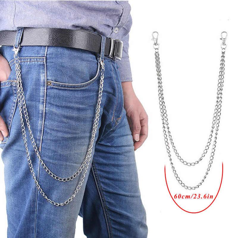 BLA Calças Calça Cadeia Punk Hip-hop Cadeia de Cintura de Metal Carteira Chave de Prata Cadeia de Ligação do Metal Jeans Cintura Ligação Jóias Chaveiro z30
