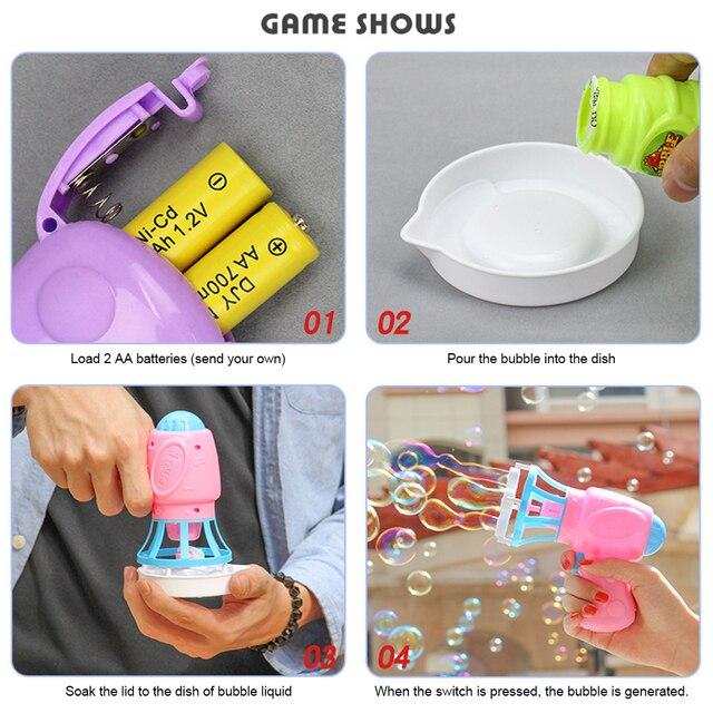 Máquina sopladora de burbujas, juguete para niños, pistola de agua y jabón, pistola de agua de dibujos animados, regalo para niños, pistola Manual 3