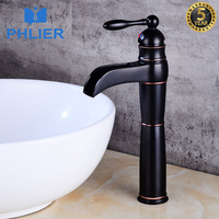 PHLIER Supper High Quality Tall Sink Faucet Bathroom Tap Black Faucet Brass Water Faucet Single Handle Vessel Waterfall Faucet