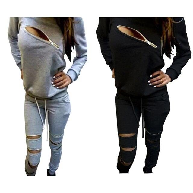 Fashion 2 Piece Set Women Tracksuit  Zip Design Sweatsuit Coat + Pants Hoodie Suit Hot J3