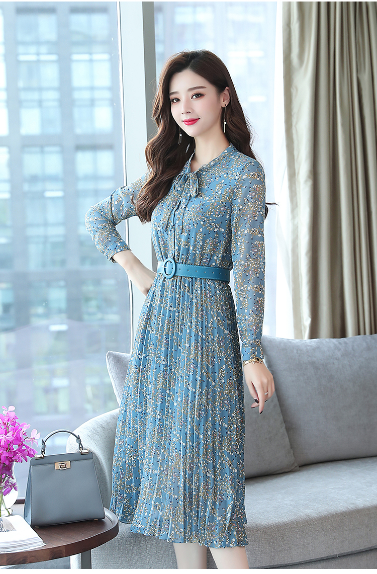 2019 Autumn Winter Vintage Chiffon Floral Midi Dress Plus Size Maxi Boho Dresses Elegant Women Party Long Sleeve Dress Vestidos 78