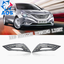 2PCs/set LED Car DRL Daytime Running Lights for Hyundai Sonata 8 2010 2011 2012 2013 with fog lamp