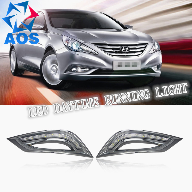 2PCs/set freeshipping LED Car DRL Daytime Running Lights fog lamp for Hyundai Sonata 8 2010 2011 2012 2013 hot sale abs chromed front behind fog lamp cover 2pcs set car accessories for volkswagen vw tiguan 2010 2011 2012 2013