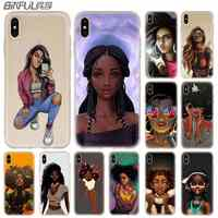 Baseus claro teléfono casos de silicona suave cubierta para iPhone 11 Pro X XS Max XR 6 6S 7 8 Plus 5 4S SE Afro niñas Funda ETUI