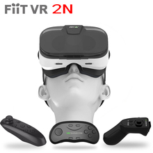 Fiit VR 2N Leather Virtual Reality Smartphone 3D Glasses Google Cardboard Video Game Model Headset For 4-6.0 Phone+Controller